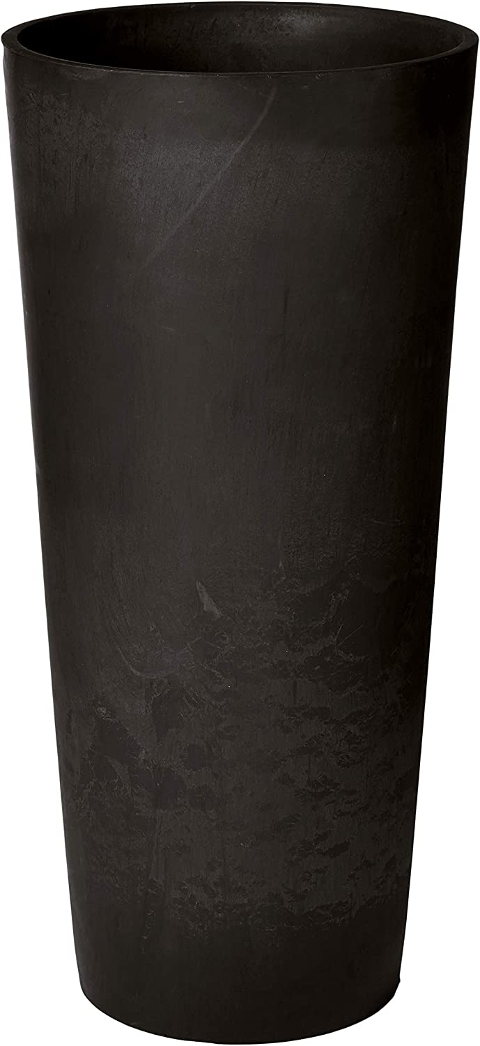 Arcadia Garden Products PSW S32BK Contempo Tall Round Planter, 13 by 13 by 28-Inch, Black