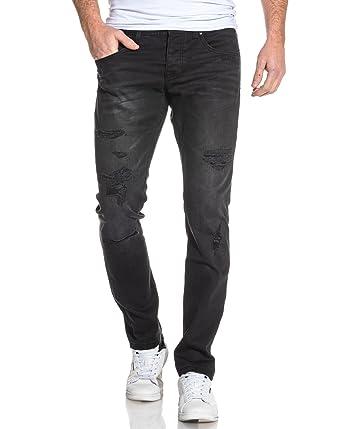 Jeans Homme Blz Jean Couleur Slim Noir Usé Délavé Effet 53cjR4ASLq