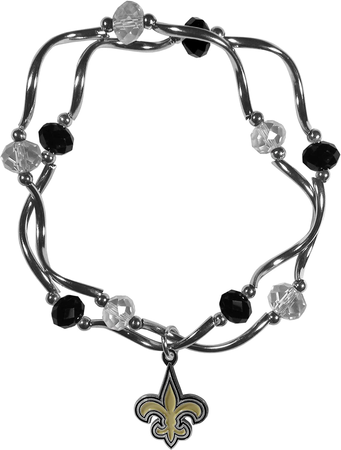 NFL Siskiyou Sports Womens New Orleans Saints Crystal Bead Bracelet One Size Team Color