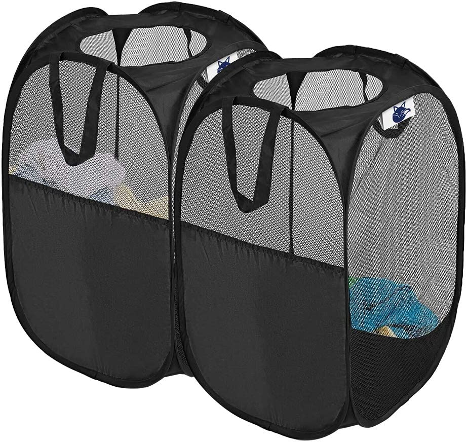 SUPINEFOX US Pop-Up Hamper, Foldable Pop-Up Mesh Hamper with Reinforced Carry Handles, Laundry Mesh Basket, Set of 2 (Black)