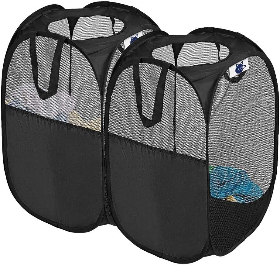 SUPINEFOX US Pop-Up Hamper, Foldable Pop-Up Mesh Hamper with Reinforced Carry Handles, Laundry Mesh Basket, Set of 2 (Black)