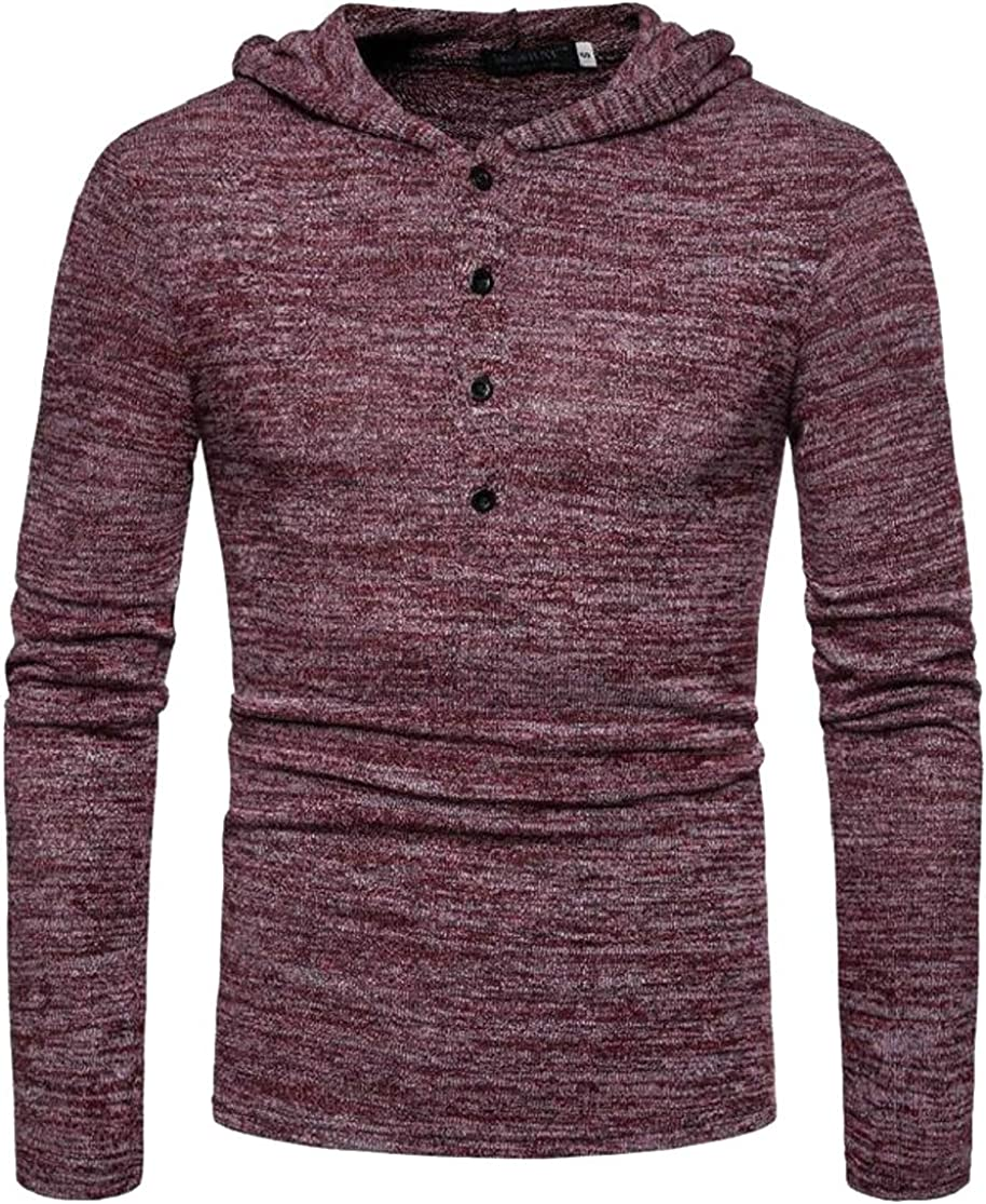 Joe Wenko Men Trendy Buttons Burnout Long Sleeve Pullover Hooded Sweatshirts