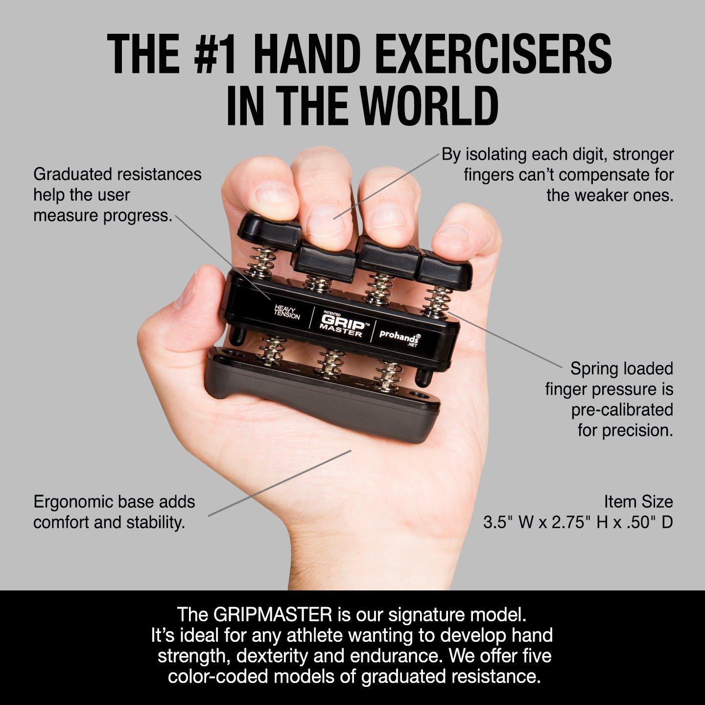 GRIP MASTER Gripmaster 14003-BLK Hand Exerciser Black, Heavy Tension (9-Pounds per Finger) by GRIP MASTER (Image #3)