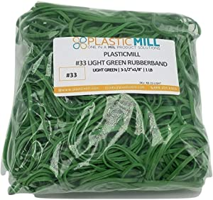 PlasticMill Rubber Bands - #33 Size - Light Green Rubberbands - 1LB/500 Count