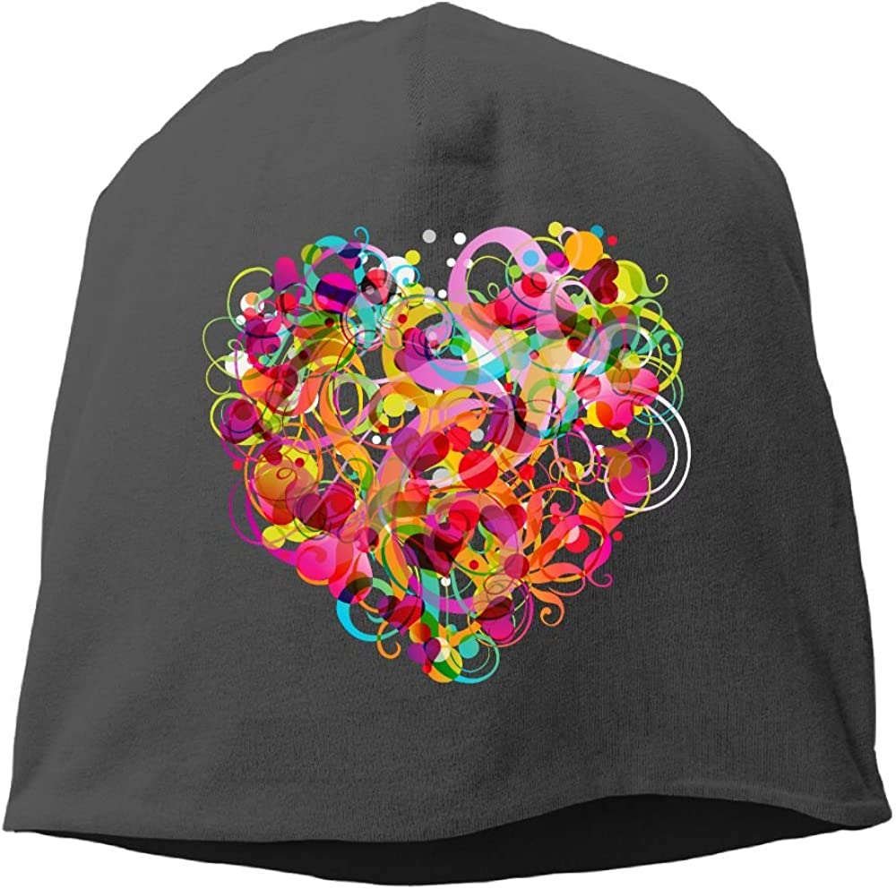 Fashion Solid Color Colorful Artistic Heart Love Wool Hat for Unisex Pink One Size