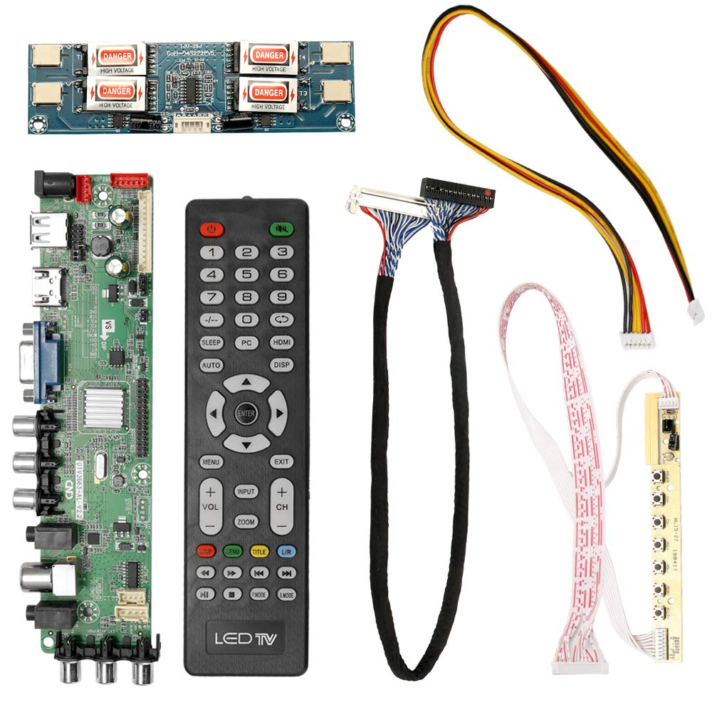 Festnight DTV3663-AS V2.0 Digital TV Board DVB-T2 Universal LCD LED TV Controller Driver Board with Cable Inverter