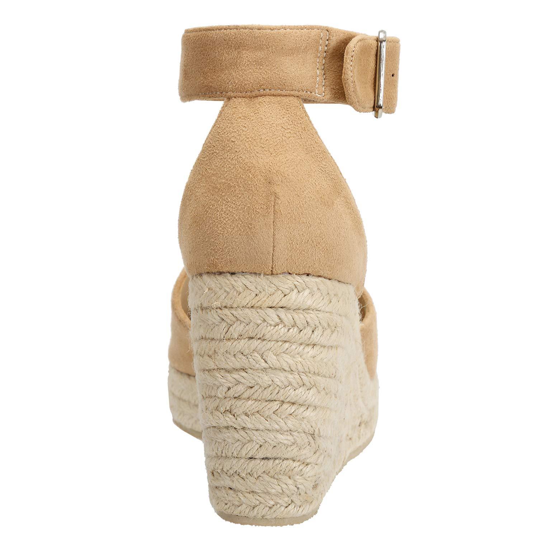 ce5bfe3a9ac23b Sandales Bout Ouvert Femme Bride Cheville avec Boucle Espadrilles Faux  Suede Chaussures Compensées: Amazon.fr: Chaussures et Sacs