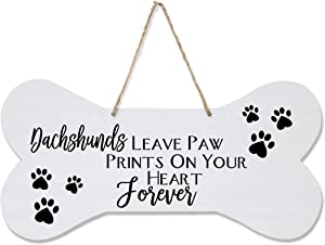 """LifeSong Milestones Dachshund Pet Quote Dog Bone Wall Hanging Sign, Dog Lovers Gifts for Women, Dog Owner Gift for Home Decor, 8"""" x 16"""" (Dachshunds Leave A Paw)"""