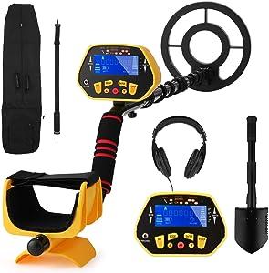 Metal Detector, High Accuracy Adjustable Waterproof Metal Finder Detectors with LCD Display, P/P Function, 7 Target Categories, Headphones, Folding Shovel and Carrying Bag Included