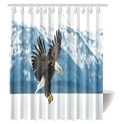 INTERESTPRINT Flying Bald Eagle Shower Curtain Aerial View Of In Snowy Mountains