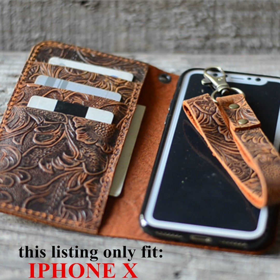 handmade Genuine leather wallet case FOR iphone X 5.8'' inch with wristlet (old brown) case -Italian by JJNUSA