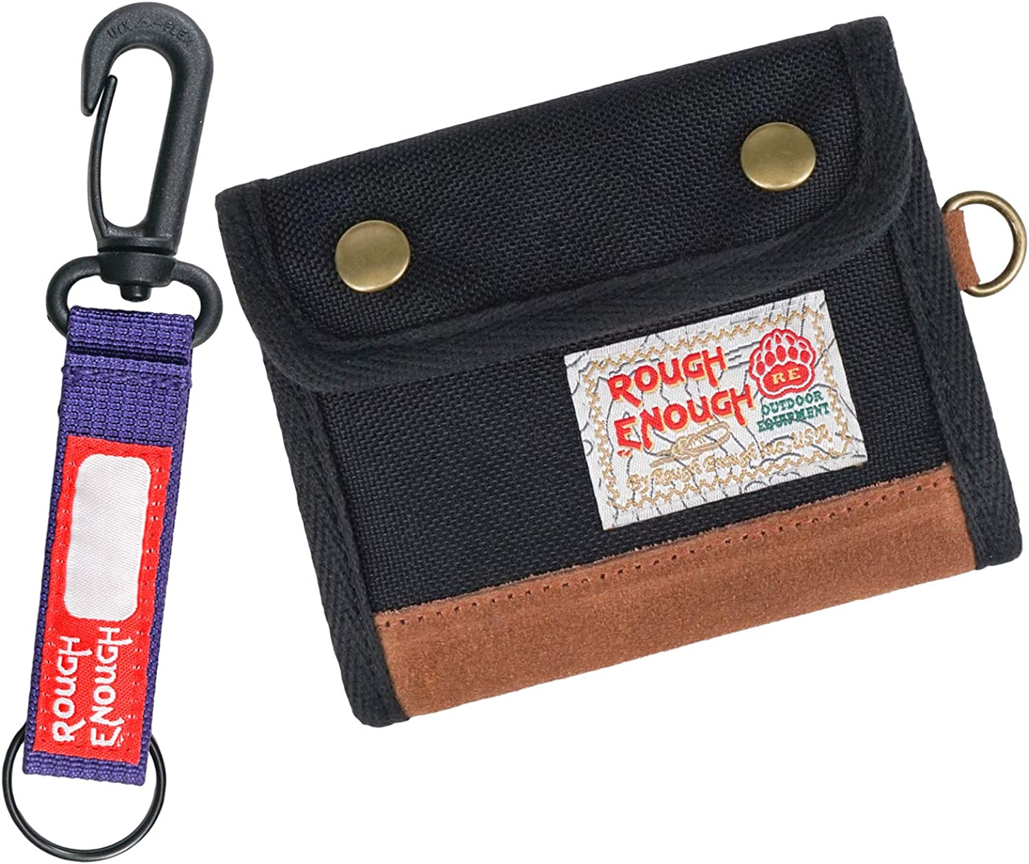 Rough Enough Bifold Kids Wallet for Boys Teen Men Keychain Credit Card Holder in Leather Trims Black Front Pocket Wallet Organizer with Coin Pocket Change Purse Cool Unique Christmas Gifts