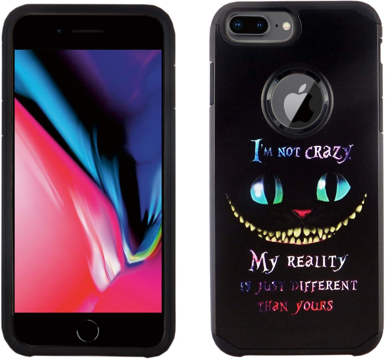iPhone 8 Plus 7 Plus 6S Plus Dual Slim Case CASEVEREST 3D Print Cover iPhone 8 Plus Black Cat Quotes Alice