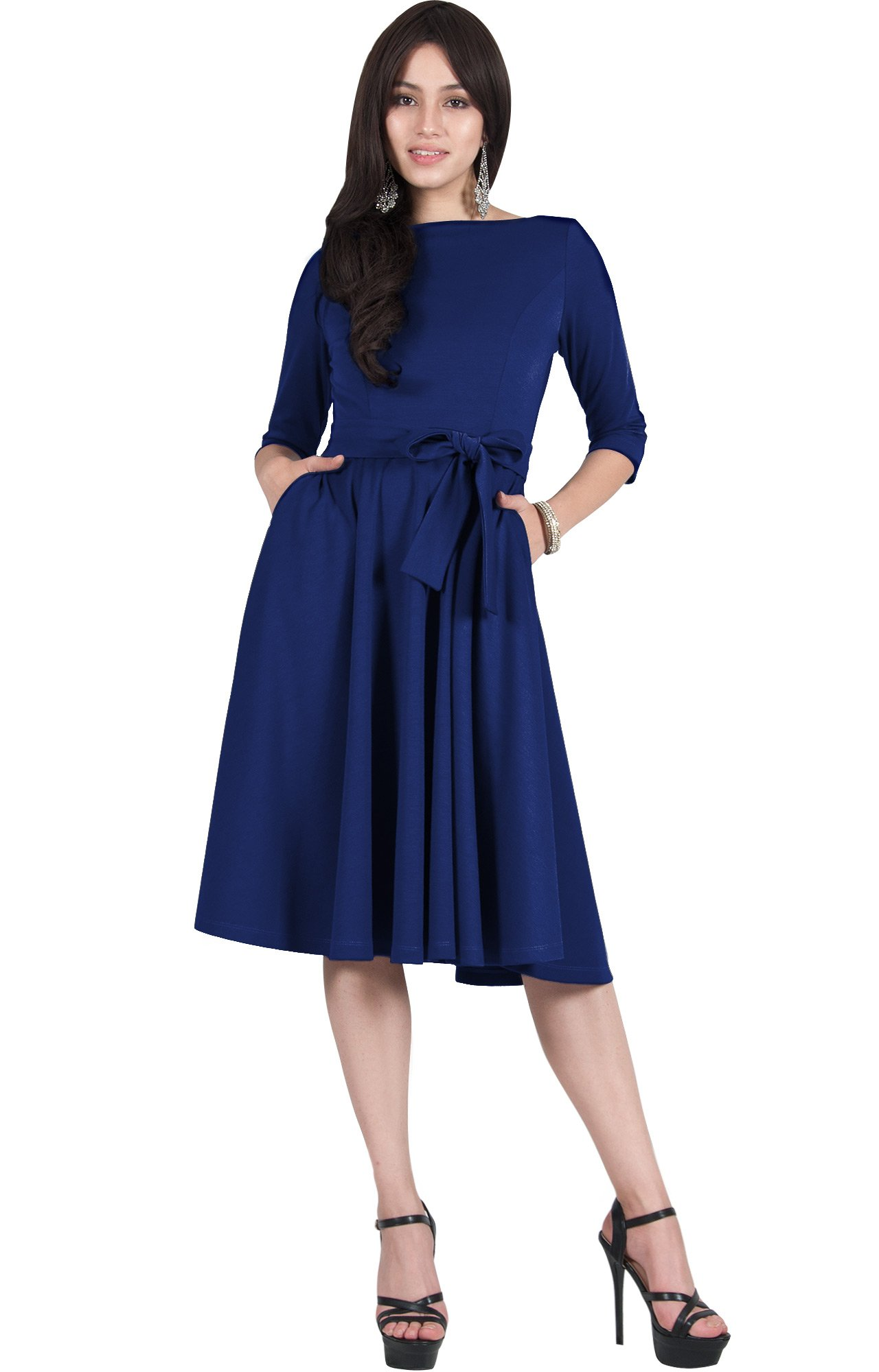 Viris Zamara Plus Size Womens 3/4 Sleeve Boat Neck with Belt Elegant Semi-Formal Pockets Work Pleated Flowy Office Knee Length Spring Summer Travel Midi Dress Dresses, Cobalt/Royal Blue 2XL 18-20