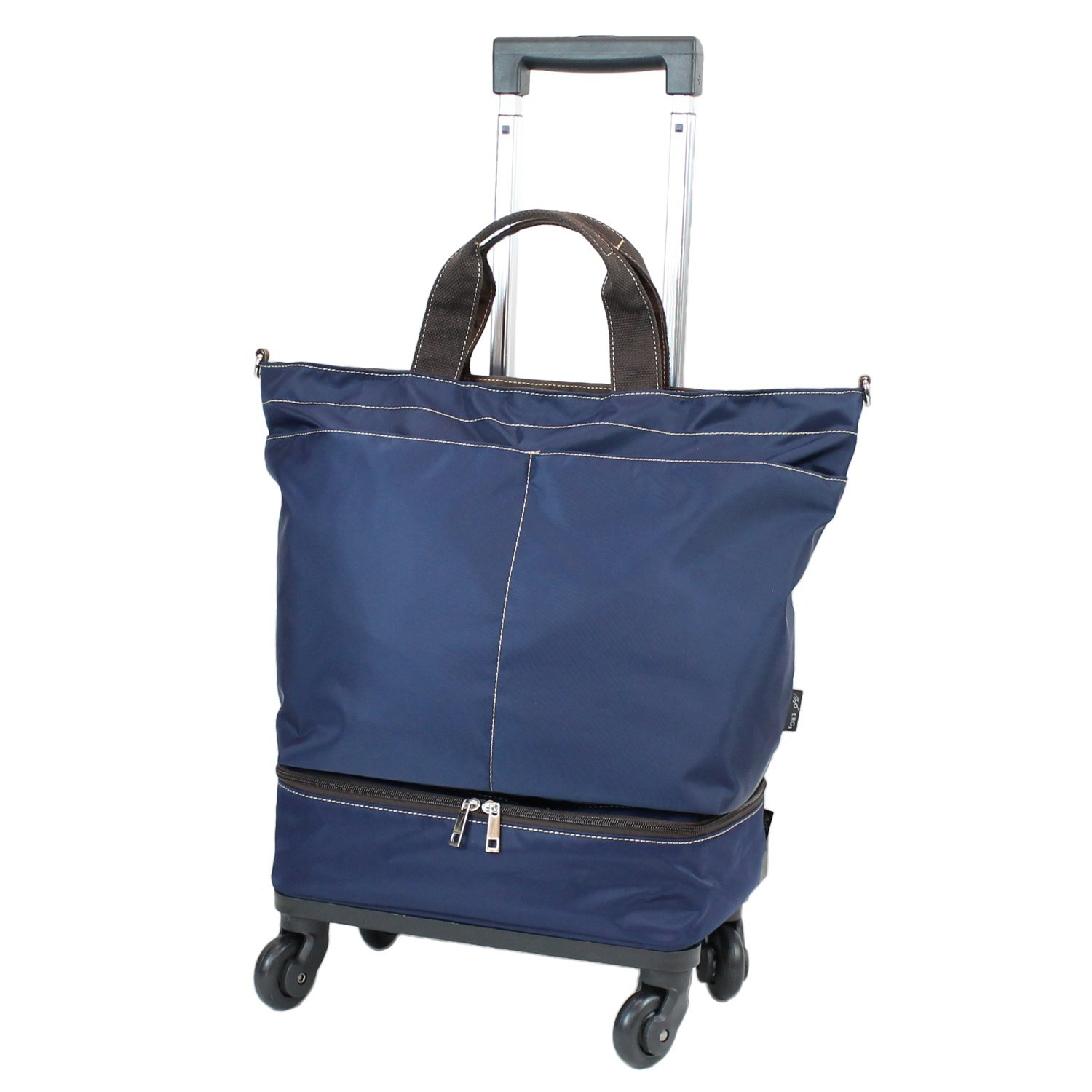 【COLOCOLO by MOIERG】 Rolling Shopper Tote Bag Carry-on Trolley Cabin Suitcase (Navy blue) by MOIERG