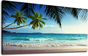 yearainn Large Canvas Wall Art Summer Ocean Waves Coconut Trees on Sands Beach Seascape Scenery Painting Long Canvas Artwork Sea Contemporary Nature Picture for Home Office Wall Decor 24
