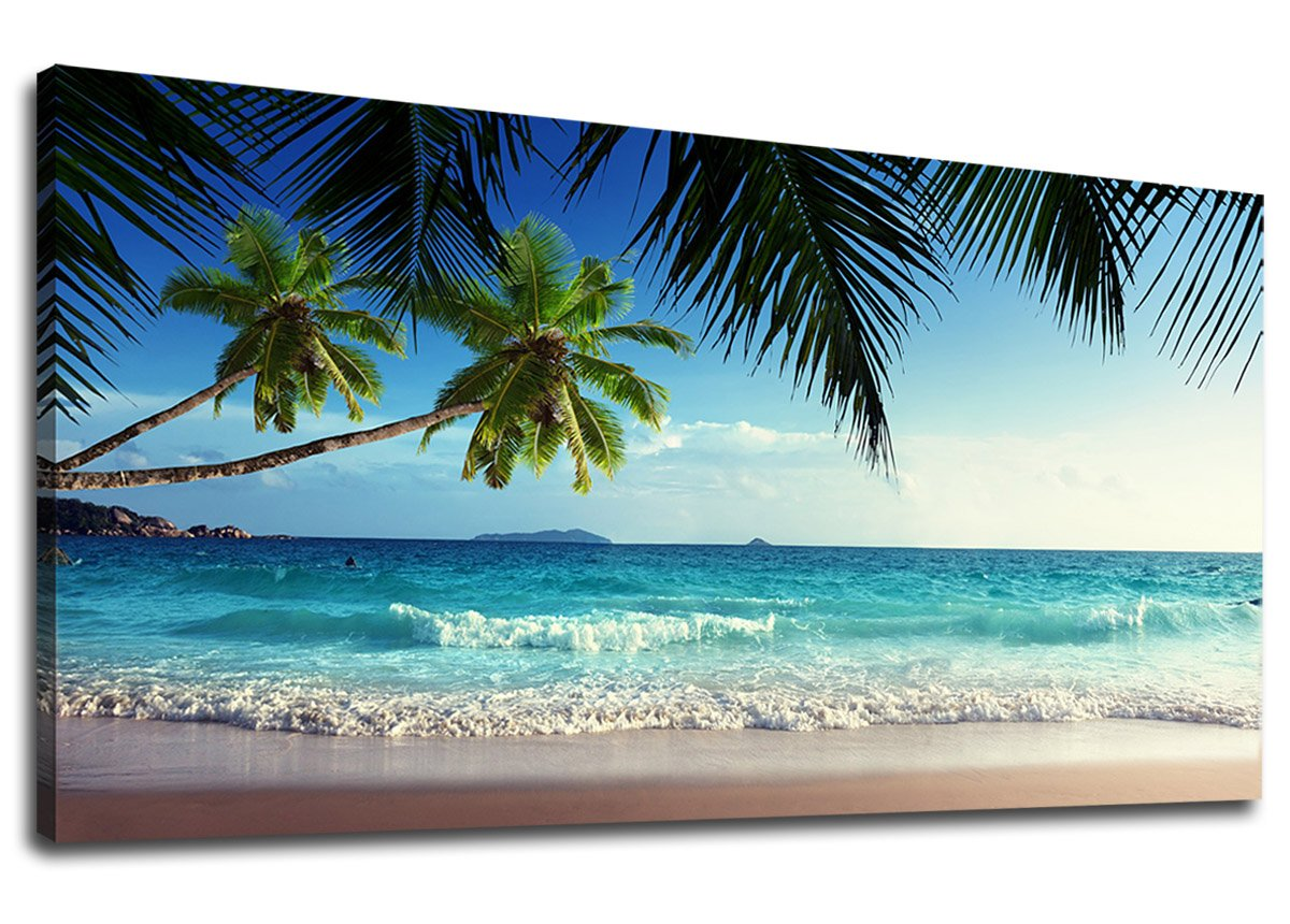 "yearainn Canvas Wall Art Summer Ocean Waves Coconut Trees on Sands Beach Panoramic Seascape Scenery Painting - Long Canvas Artwork Sea Contemporary Nature Picture for Home Office Wall Decor 20"" x 40"""