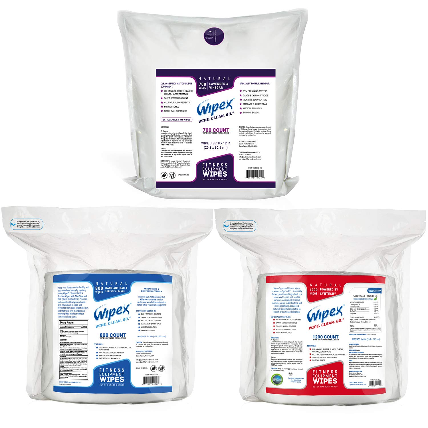 Wipex Gym & Fitness Wipes Refill Pack 700 Large Natural Wipes With Vinegar & Lavender Oil (1 Refill) by Wipex (Image #5)
