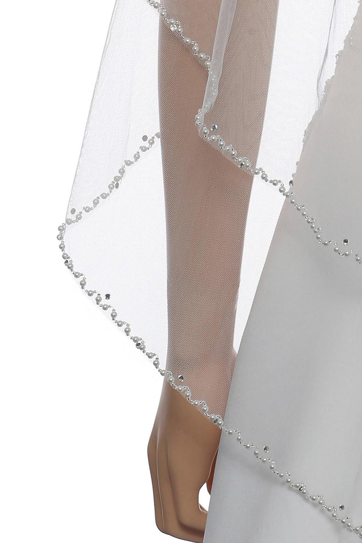 2T 2 Tier Wavy Pearl Crystal Beaded Bridal Wedding Veil - Ivory Fingertip Length 36
