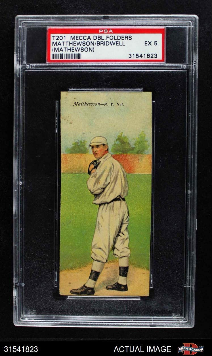 1911 T201 Mecca Christy Mathewson/Al Bridwell New York Giants (Baseball Card) (Misspelled Matthewson) PSA 5 - EX Giants 71g4R2zI2RLSL1249_