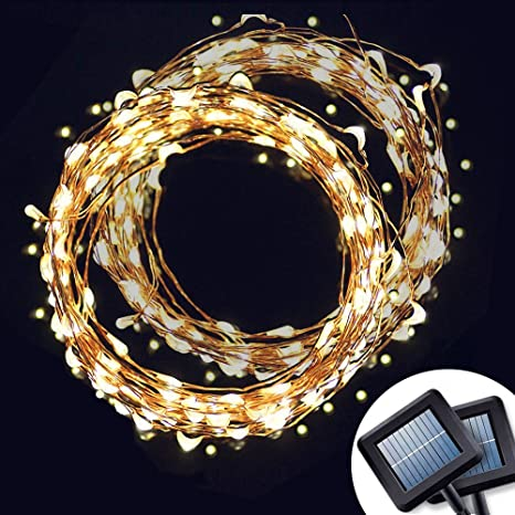 [2 PCS] Solar Powered String Light, Amir 100 LEDs Starry String Lights, Indoor/Outdoor Copper Wire Lights Ambiance Lighting for Gardens, Patios, Homes, Parties & All Decorations (Warm White)