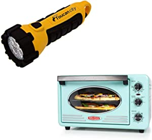 Toucan City LED Flashlight and Nostalgia Retro 1500 W Aqua 12-Slice Convection Toaster Oven with Built-in Timer RTOV2AQ