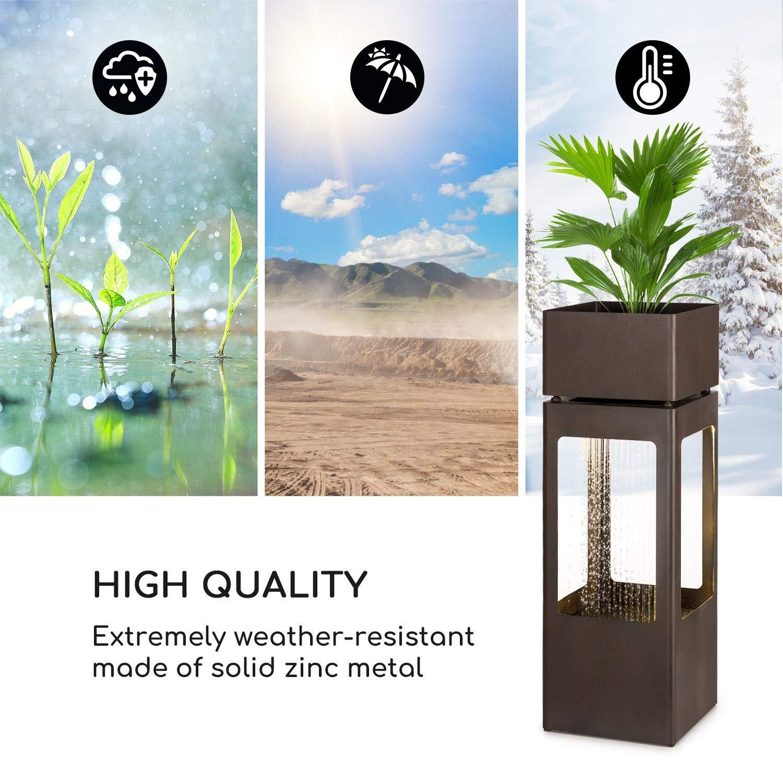 Blumfeldt Waterplant /• Fontana da Giardino /• Circolazione Acqua Continua con Loopflow Concept /• Pompa da 16 Watt /• Protezione IPX8 /• Barra Luminosa a LED /• Metallo Zincato /• Compresa Fioriera