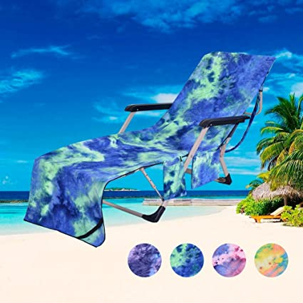 Merveilleux DoMii Lounge Chair Beach Towel Patio Chaise Cover With Side Pockets For  Pool Lounger Chairs 82.5u0026quot