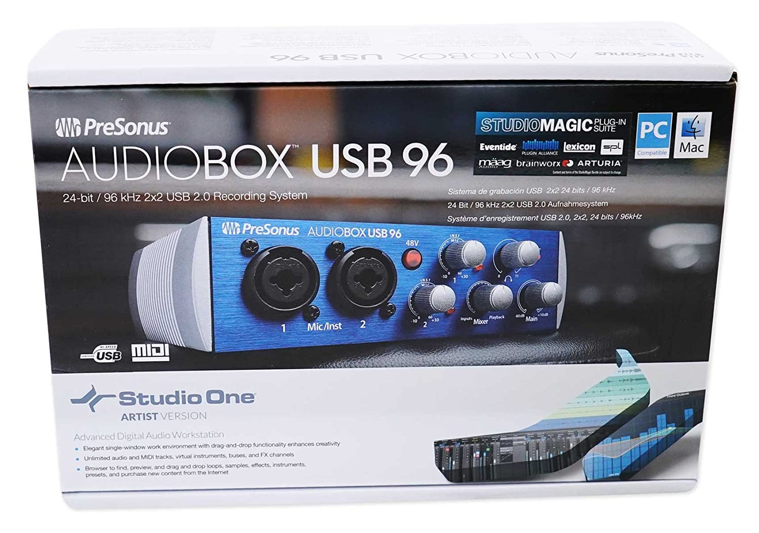 Amazon.com: PreSonus Audiobox USB 96 2 x 2 grabación de ...