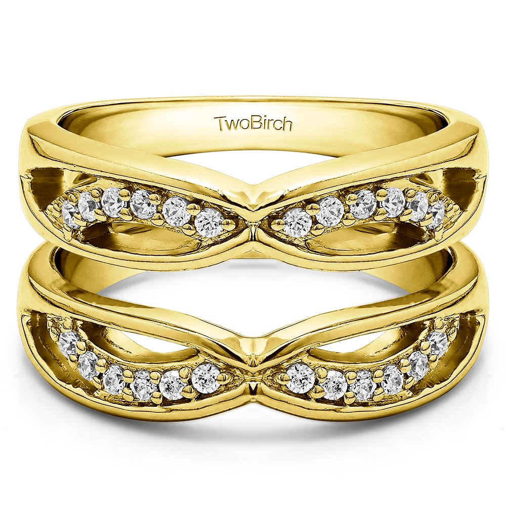 TwoBirch Yellow Plated Sterling Silver Criss Cross Anniversary Style Jacket Ring Guard with Cubic Zirconia (0.24 ct. tw.)