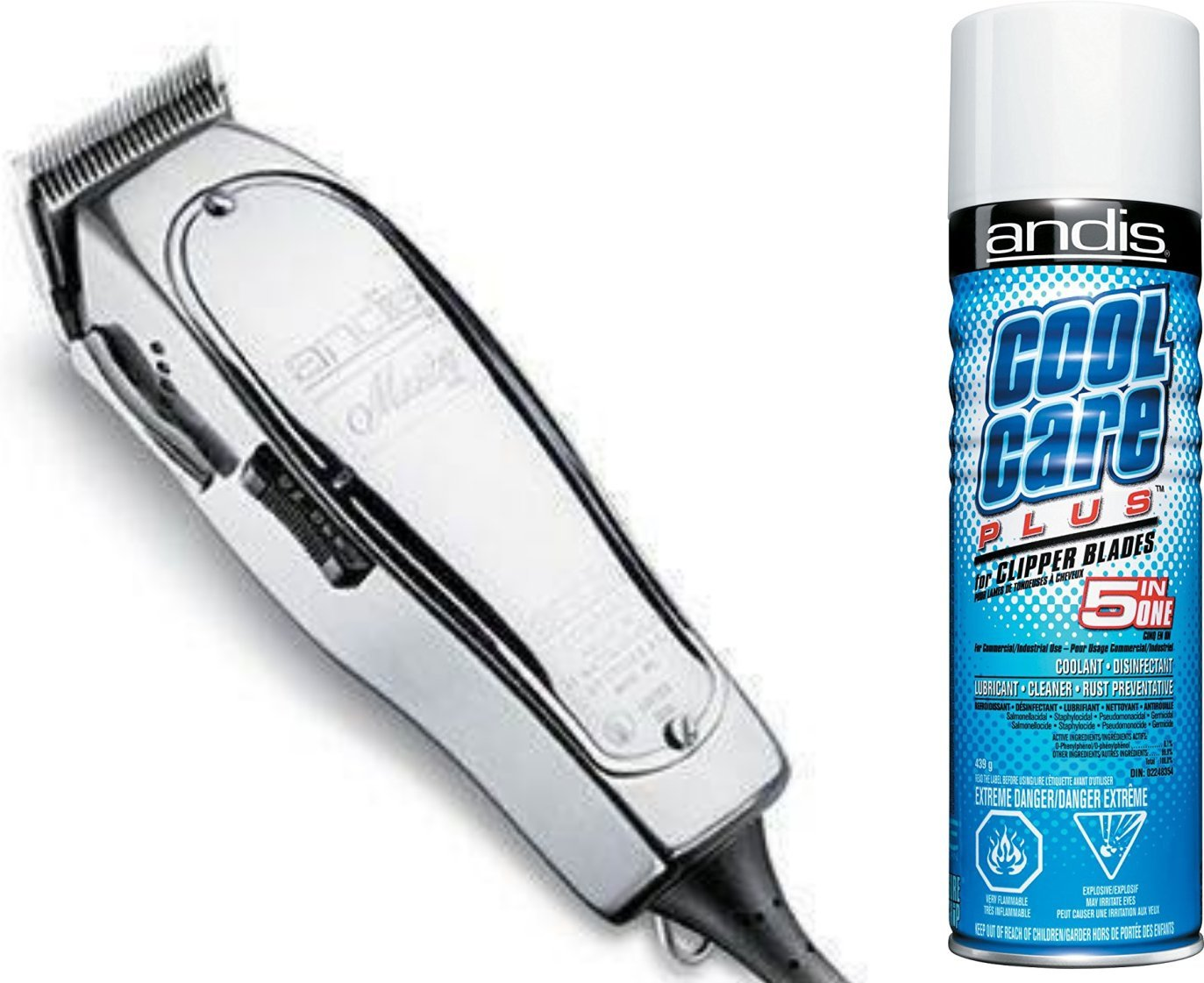 Andis LIGHTWEIGHT Hair Clippers, with Unbreakable Aluminum Housing and BONUS FREE Andis Cool Care Plus Clipper Blade Cleaner Included