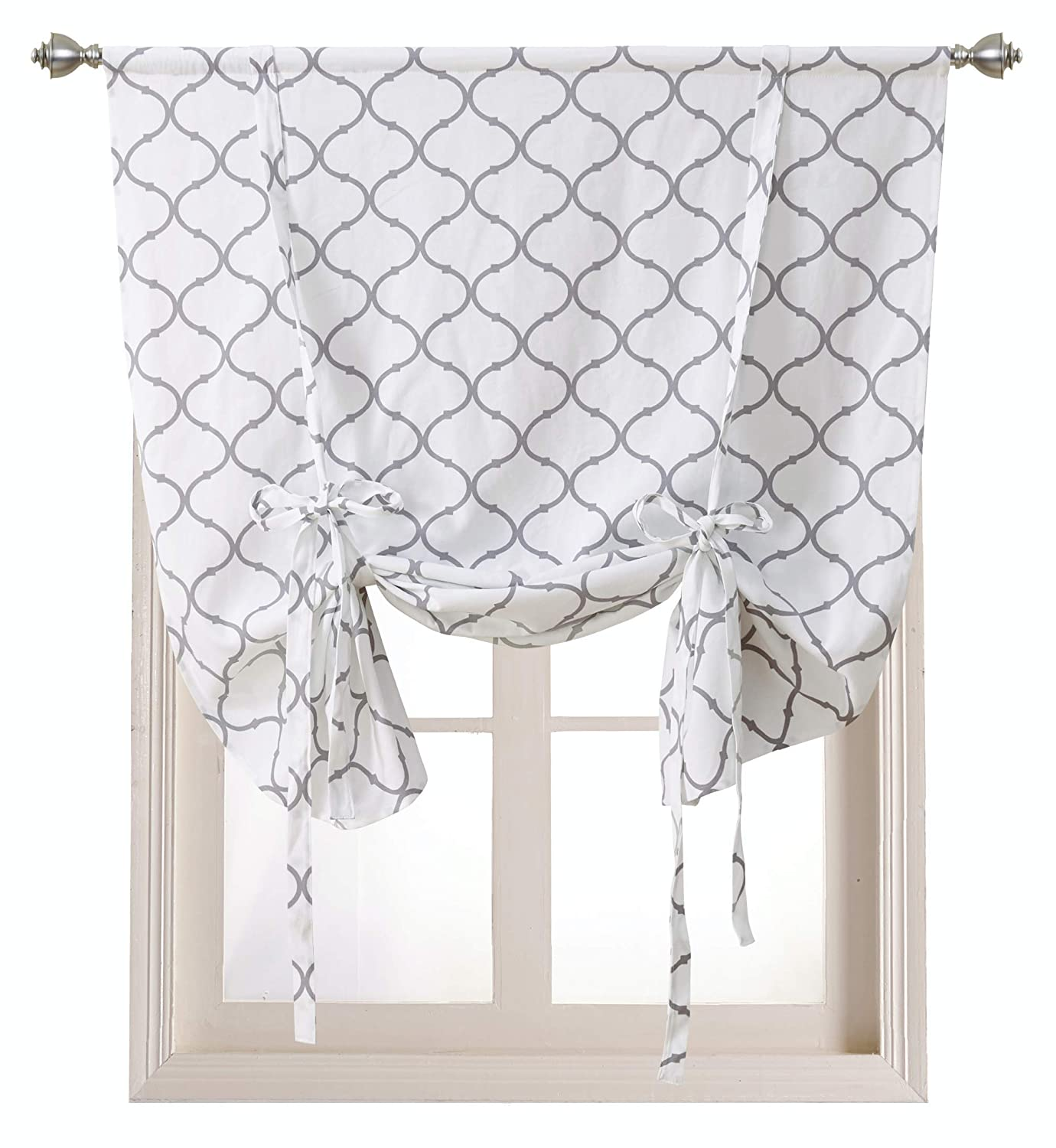 Regal Home Collections Shabby Lattice Kitchen Curtains - Assorted Colors & Sizes (Hunter Gray, Tie Up Shade)
