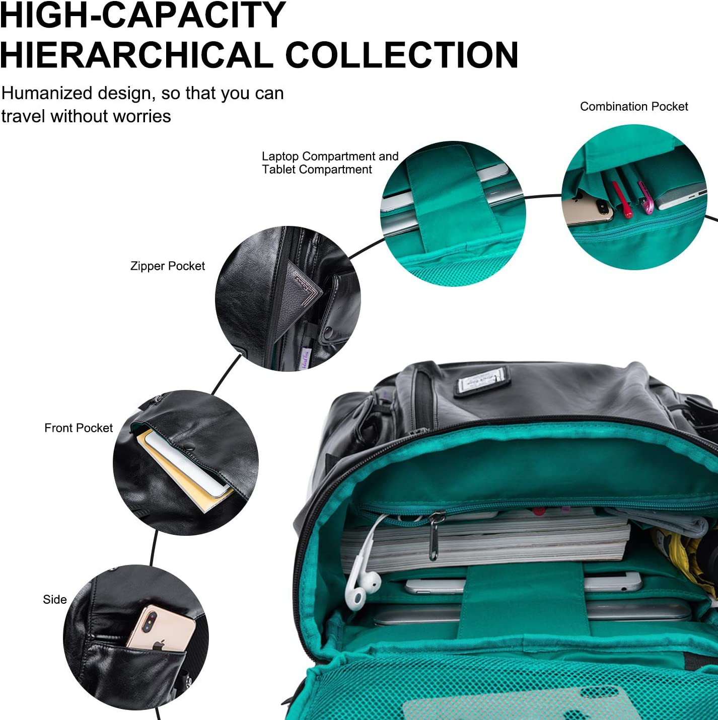Wind Took Mochila Lona Portatil 15.6 Pulgadas Mochila Casual Mochila Ordenador Portatil Mujer con Puerto de USB Mochila Unisex Dackpack para Viaje Trabajo
