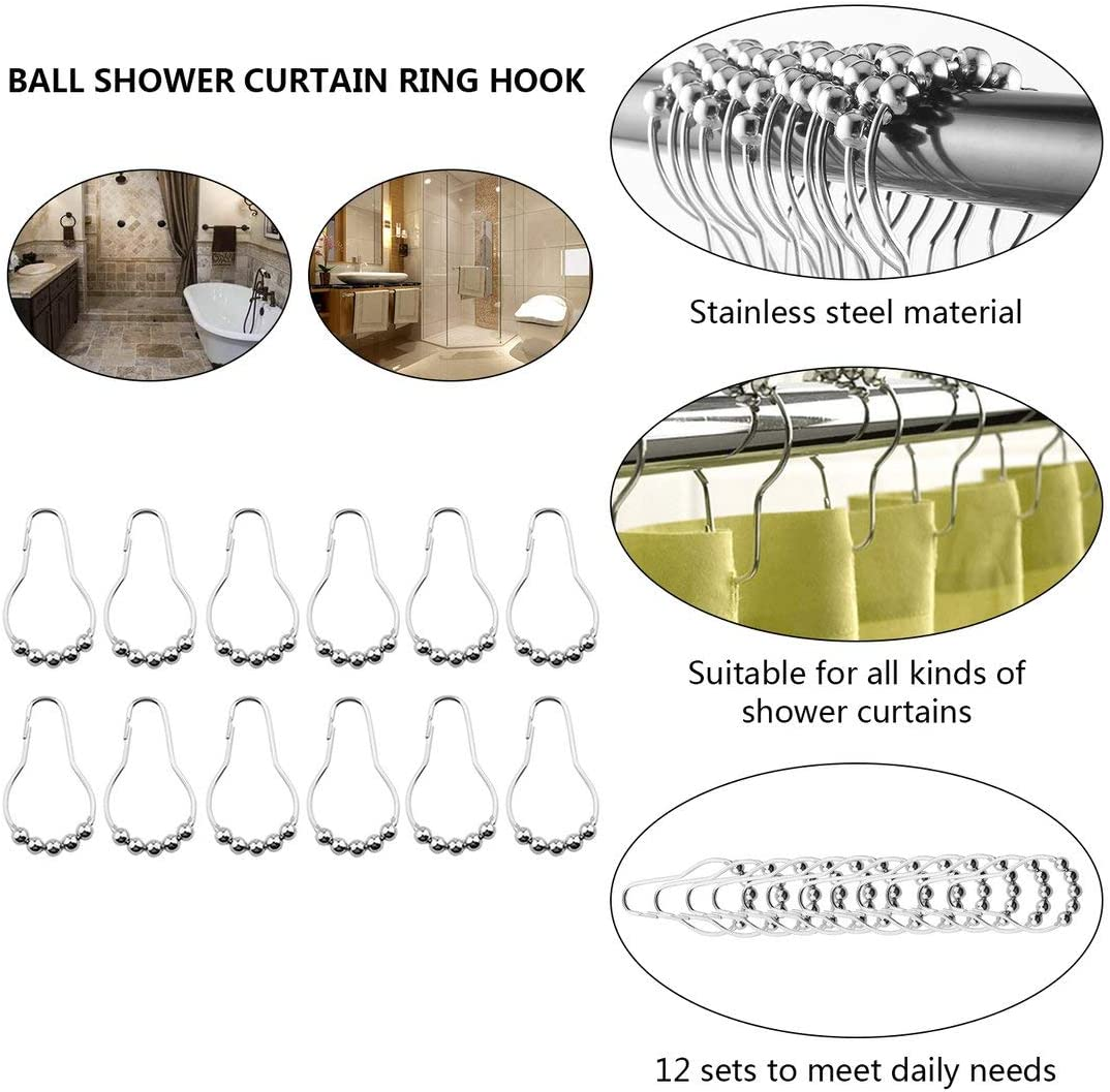 Appearancees 12pcs//Pack Set Package Polished Satin Nickel 5 Roller Ball Shower Curtain Rings Hooks Hot Search
