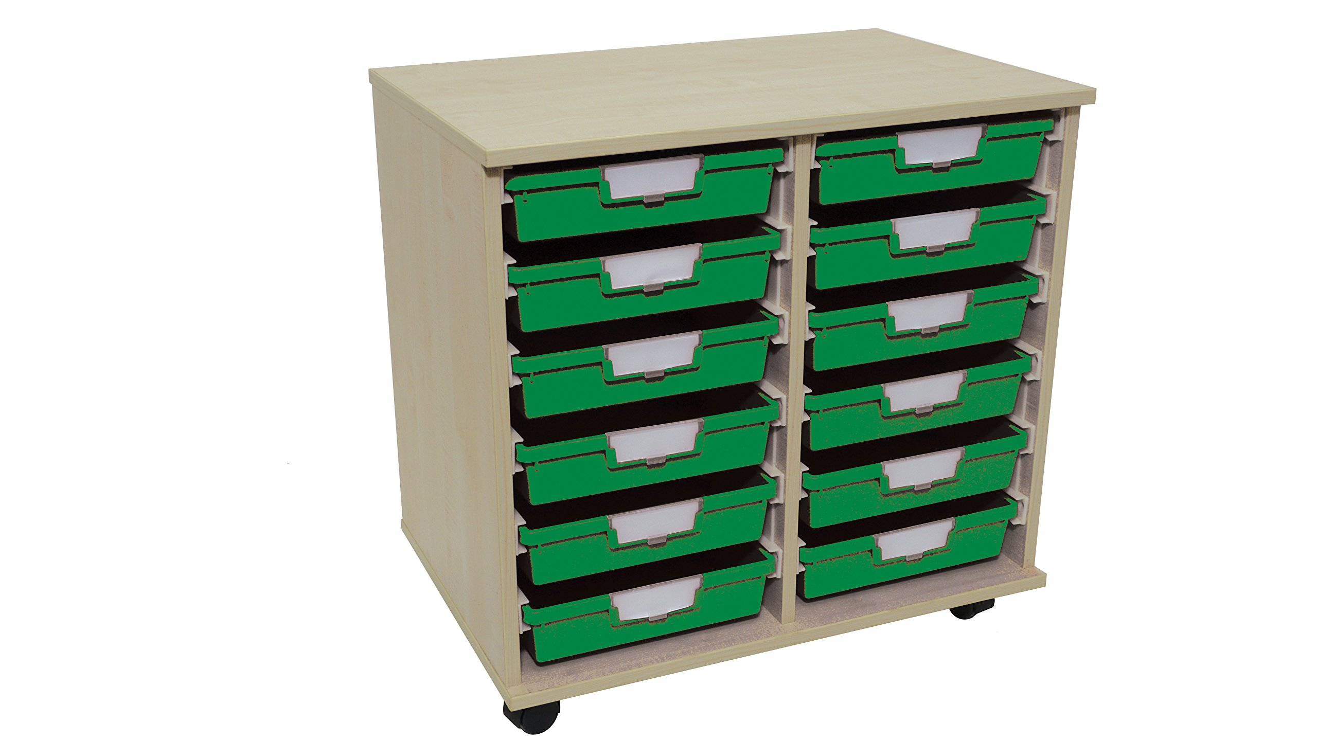 Swift 'Slim Line' Wood Cart 12 Tray Green by StorSystemUSA (Image #3)