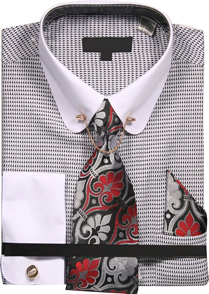 Sunrise Outlet Men's Micro Diamond Print Shirt with Tie Handkerchief Cufflinks and Collar Chain NTP-DN75M