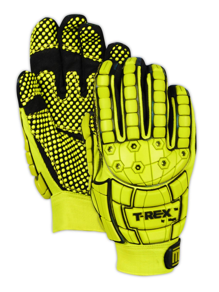 Magid Safety TRX648S T-REX Dotted Palm Impact Glove, Small, Yellow