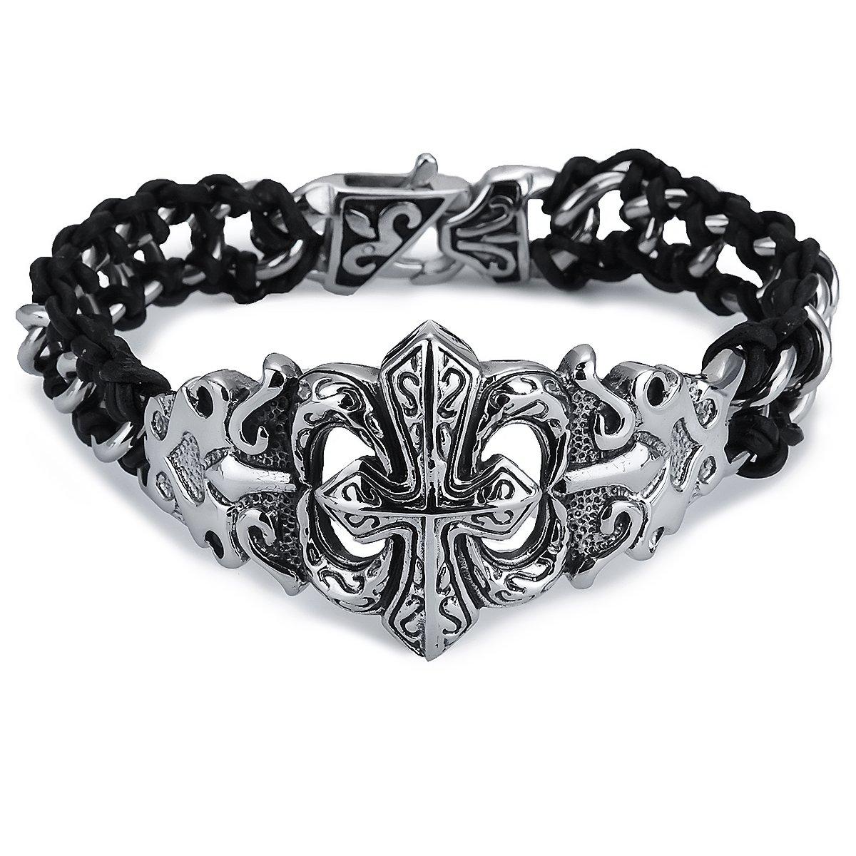 Pulsera de cuero trenzada negro acero inoxidable beads cruz lirio Fleur de Lis Biker