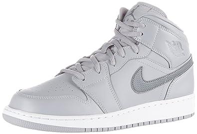 on sale aa4ef d172f Nike Air Jordan 1 Mid BG, Chaussures de Basketball Mixte Enfant, Gris (Wolf
