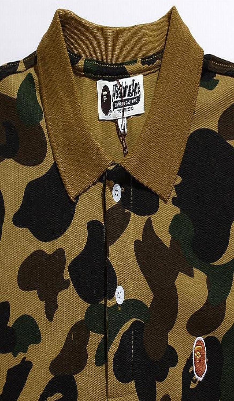 xiaokong Men Casual Loose Embroidered Lapel Camo T-Shirt T-Shirt