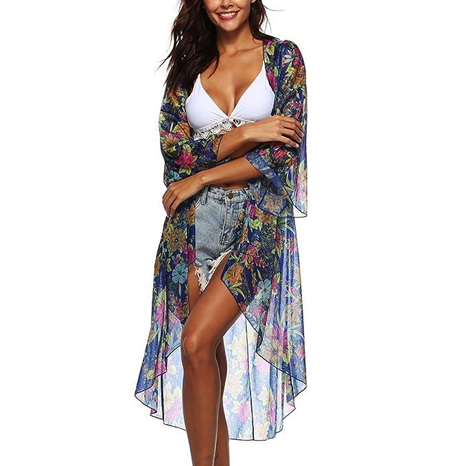 Jolisson Damen Sommer Strand Chiffon Cover Up Blumen Muster Boho Sommer  Leicht Asymmetrisch Lang Durchsichtig Kimono c2f1cd0df3