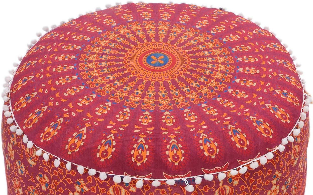 The Art Box Stile Boh/émien Pouf ottomano poggiapiedi Decorativo Pouf Rotondo da Pavimento 35,6 x 61 cm Circa Cuscino Etnico Copri Pouf in Stile Indiano con Motivo Mandala di Pavone