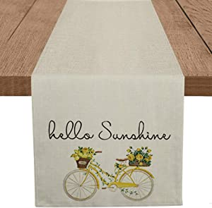 Artoid Mode Hello Sunshine Bicycle Table Runner, Seasonal Spring Summer Sunflowers Holiday Kitchen Dining Table Decoration for Home Party Decor 13 x 72 Inch