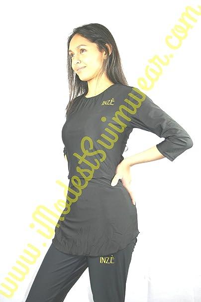 Negro Simple elegante modestos bañadores vestido con vestido de natación pantalones de Islamic de baño gimnasio