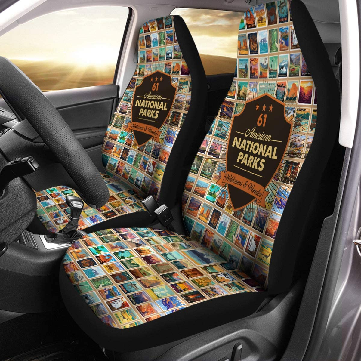 VTH Global 61 American National Parks RV Camping Camper Airbag Compatible Seat Covers Car Accessories Size Universal Fit for Most Cars SUV Truck