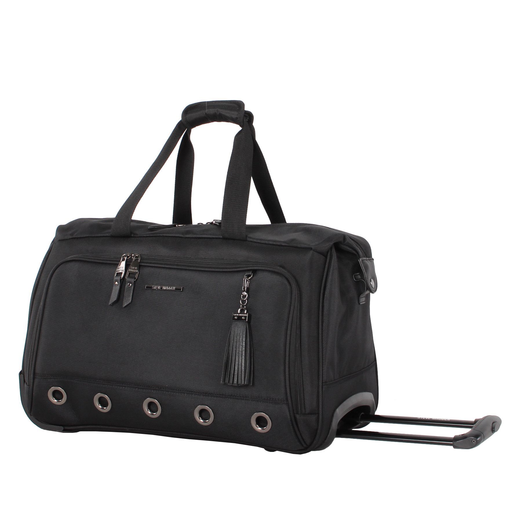 Steve Madden Luggage Suitcase Wheeled Duffle Bag (B-Social Black)