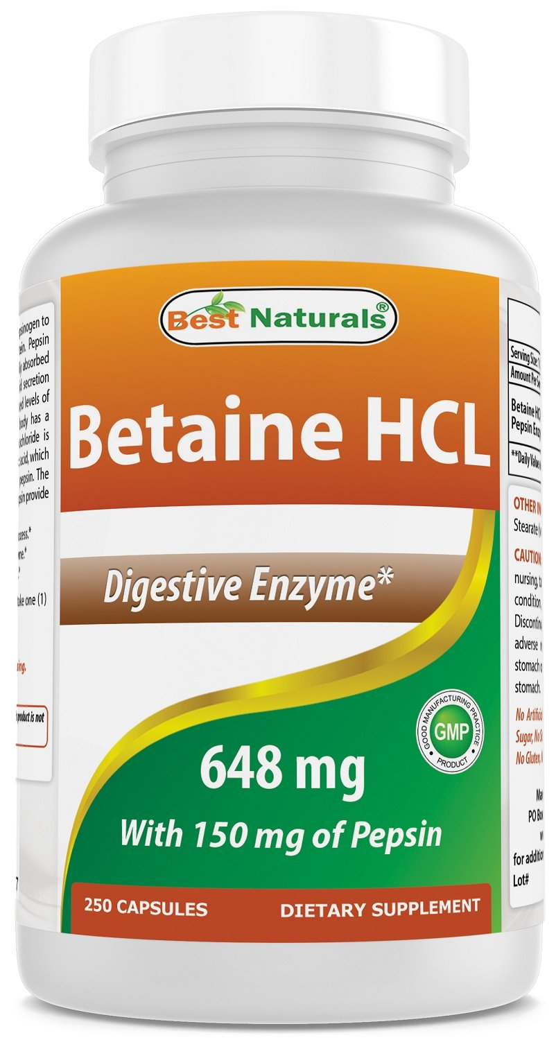 Best Naturals Betaine HCL 648 mg 250 Capsules by Best Naturals
