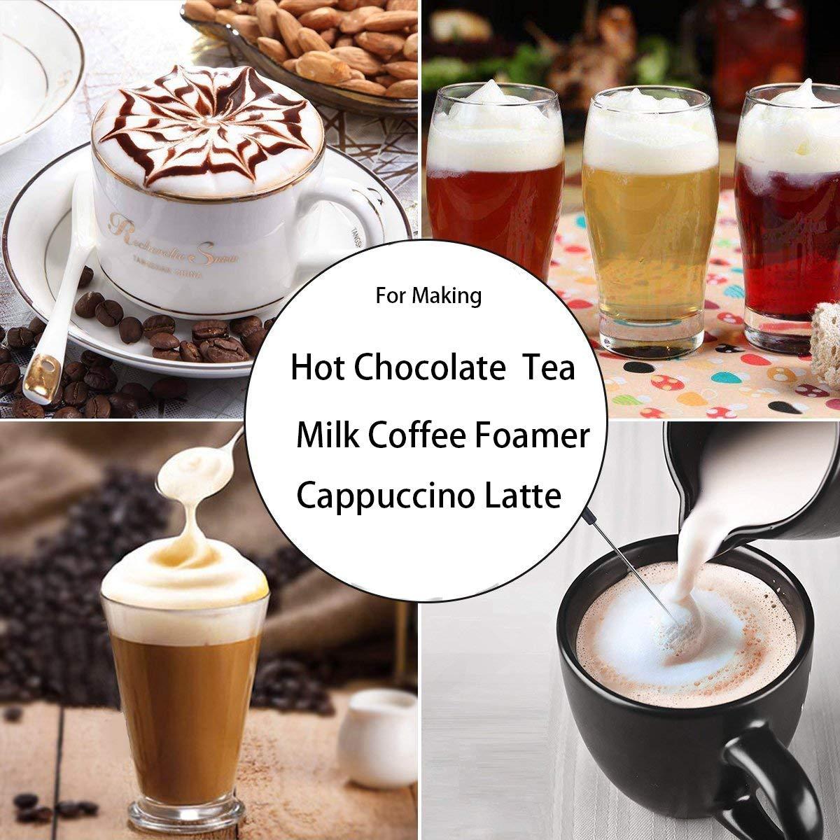 Automático de mano espumador de leche eléctrico funciona con pilas agitador andinor para barra de chocolate caliente café con leche hacer espuma de té café ...