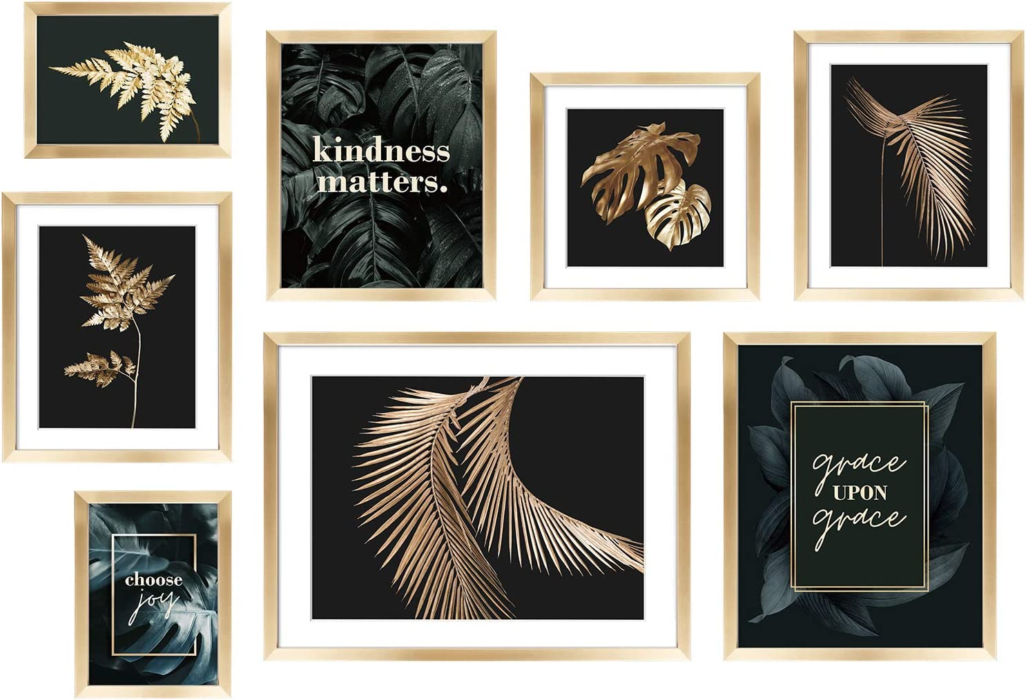 ArtbyHannah 8 Pack Gold Picture Frame Gallery Wall Kit Decorative Botanical Plant Art Prints Photo Frame Collage Set Wall Art Decor with Hanging Template for Bathroom,Living Room,Bedroom or Home Decoration,Multi Size 12x16 Inch,10x12 Inch, 8x10 Inch,5x7 Inch