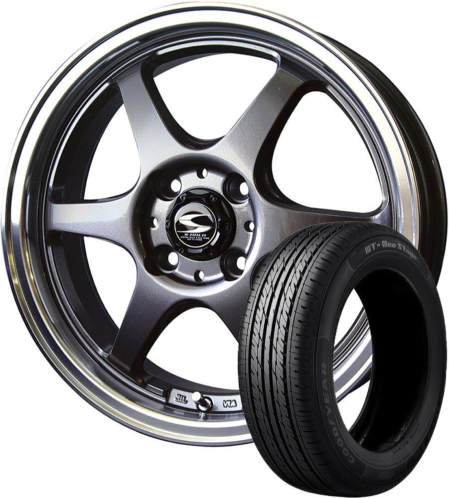14インチ 1本セット サマータイヤホイール GOODYEAR(グッドイヤー) GT-エコステージ 155/65R14 75S + エスホールド シュトルツ ガンメタ/リムポリッシュ B07B6DLLWC
